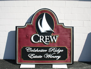 Crew Colchester Ridge Estate Winery Dimensional Signage Design anf Fabrication