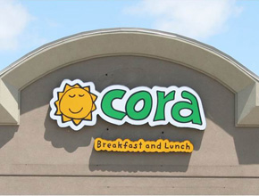 Cora Breakfast and Lunch Exterior Dimensional Signage Fabrication and Installation
