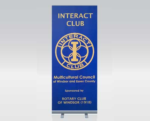 Pull up banner stand and design