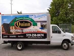 Quinn Roofing Vehicle Wrap Design by Angel Star