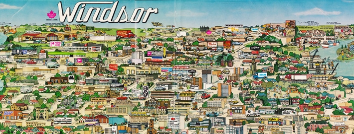Retro Map of windsor